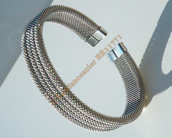 Bracelet Bangle Wire Tréssé 13 mm Pur Acier Inoxydable Flexible Ajustable