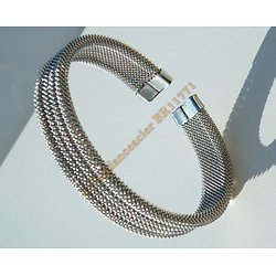 Bracelet Bangle Wire Tréssé 13 mm Pur Acier Inoxydable Flexible Ajustable