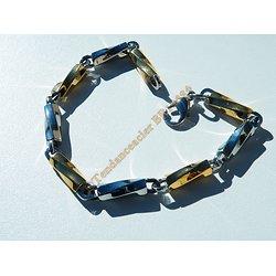 Bracelet Maillons Berlingot Tréssé Torsadé Duo Or Argent Pur Acier Inoxydable 21 cm
