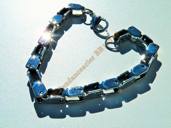 Bracelet Maille Vénitienne Carré 6 mm Acier Inoxydable Argenté 22 cm