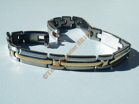 Gourmette Fine Bracelet Duo Argenté Plaqué Or Pur Acier Inoxydable Top 8 mm