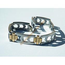 Gourmette Bracelet Duo Argenté Croix Or 14 mm Pur Acier Inoxydable