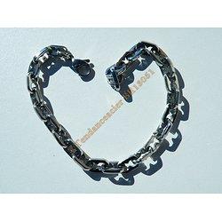 Bracelet 22 cm Maille Forçat 5 à 6 mm Acier Inoxydable Argenté Brillant 22 cm