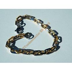 Bracelet 22 cm Maille Forçat 5 à 6 mm Acier Inoxydable et Plaqué Or Brillant