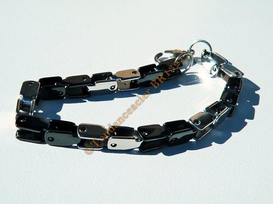 Bracelet Maille Vénitienne Carré 6 mm Pur Acier Inoxydable Argenté et Noir 22 cm