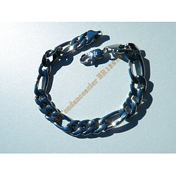Bracelet 23 cm Pur Acier Inoxydable 10 mm Maille Figaro 1 + 3