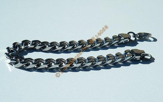 Bracelet 20 cm Acier Inoxydable Argenté Maille Gourmette 7 à 8  mm