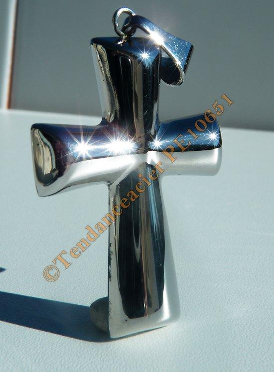 Pendentif Religieux Croix Bombé Pur Acier Inoxydable Argenté 2 dimensions