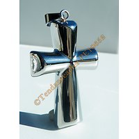 Pendentif Religion Croix Bombé Pur Acier Inoxydable Argenté 3 Dimensions 63 mm
