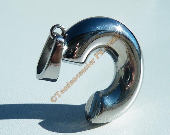 Pendentif Pur Acier Inoxydable Virgule C Argenté Brillant Original Logo