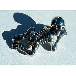 Pendentif Bébé Squelette Acier Inoxydable Skull 3 Dimensions Relief Argenté