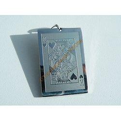 Pendentif Pur Acier Inoxydable Plaque Roi de Coeur Poker Carte Flush Royal