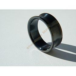 Bague Pur Acier Inoxydable Noire Concave 8 mm Vierge