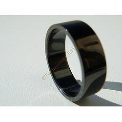 Bague Acier Inoxydable Noire Brillante Lisse Vierge 8 mm