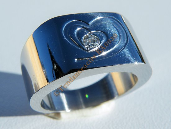 Bague Chevaliere Pur Acier Inoxydable Double Coeur Strass Zirconium Love Saint valentin