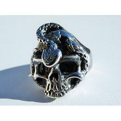 Bague Chevaliere Skull Tetes de Mort Acier Inoxydable Serpent Snake Hard Goth