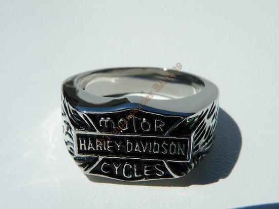 Bague Chevaliere Pur Acier Inoxydable Harley Davidson Motor Cycles Moto Biker Argenté