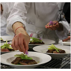 Filet de bar cuit sur peau, festival de légumes de saison - Mont-blanc saveur agrumes japonais