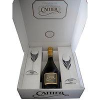 Geschenkdoos 'Cattier' met 2 gegraveerde champagneglazen