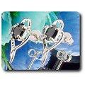 BOUCLES D'OREILLE SAPHIR NOIR 2x7 mm Plaqué Or Blanc 18 K