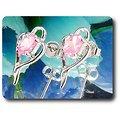 BOUCLES D'OREILLE SAPHIR ROSE 2x7 mm Plaqué Or Blanc 18 K