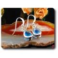 BOUCLES D'OREILLE TOPAZE BLEU 2x7 mm Plaqué Or Blanc 18 K