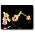 BOUCLES D'OREILLE SAPHIR ROSE 2x7 mm Plaqué Or 18 K