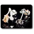 BOUCLES D'OREILLE SAPHIR ORANGE 2x7 mm Plaqué Or blanc 18 K