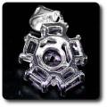 PENDENTIF AMETHYSTE Argent 925 + Plaqué Or blanc 14 K