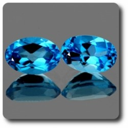 1.08 cts Lot de 2 TOPAZE BLEU SWISS .IF Brésil