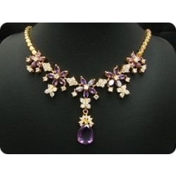 COLLIER AMETHYSTE 26x6-18 mm Plaqué Or 18 K