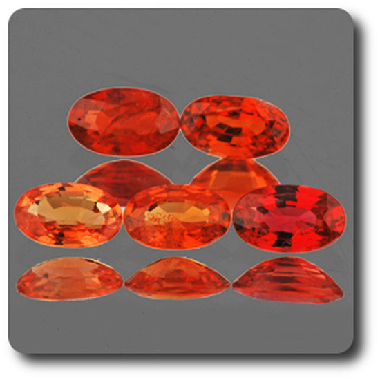 0.31 cts SAPHIR ORANGE ROUGE . 5 x 3 MM. IF - VVS1 ( vendu à l'unité ) Ceylan, Sri Lanka