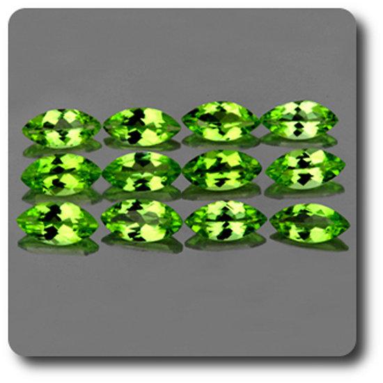 0.26 cts PERIDOT VERT . 6x3 MM . IF-VVS1 ( vendu à l'unité ) Pakistan
