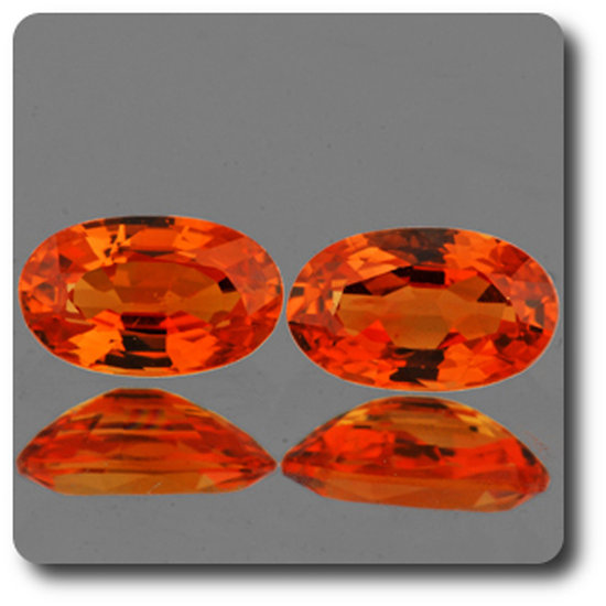 0.61 cts LOT DE 2 SAPHIR ORANGE . VVS1 Ceylan, Sri Lanka