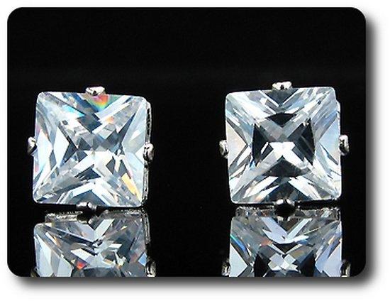 BOUCLES D'OREILLE DIAMANT CZ 2x3 mm Plaqué Or Blanc 18 K