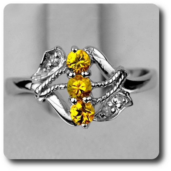 bague saphir jaune diamant argent 925 plaqu or blanc 14 k. Black Bedroom Furniture Sets. Home Design Ideas