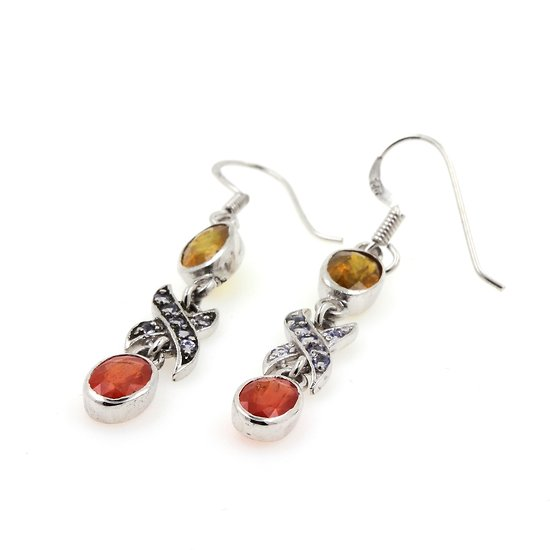 BOUCLES D'OREILLE SAPHIR ORANGE JAUNE & TANZANITE Argent 925