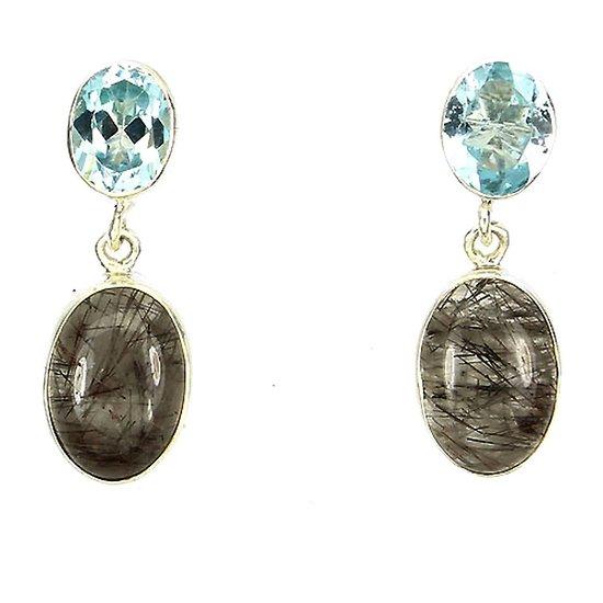 Boucles d'oreille Quartz rutile et Topaze bleu Argent 925