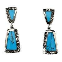 Boucles d'oreille Turquoise et Marcassite Argent 925