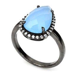 Bague Calcédoine bleu Argent 925 rhodié noir