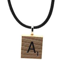 Scrabble Pendentif Lettre en bois + cordon cuir noir . Choisissez votre lettre de l'alphabet au choix
