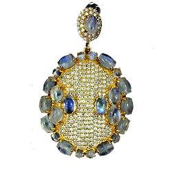 Pendentif Pierre de Lune Argent 925 + plaqué or jaune + Chaine en plaqué or jaune