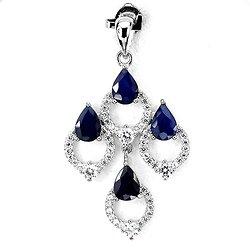 Pendentif Saphir bleu Argent 925 + Chaine en argent 925