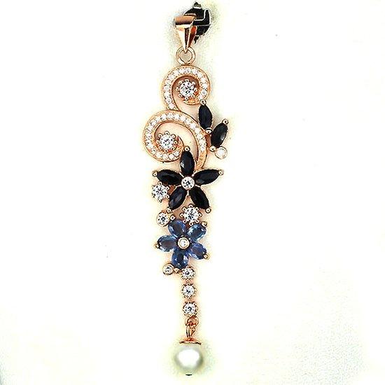 Pendentif Saphir et Perle Argent 925 + Plaqué or rose 14K