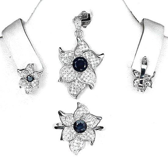 Parure Saphir bleu. Pendentif + chaine, bague, boucles d'oreille Argent 925