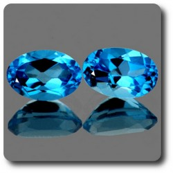 0.98 cts Lot de 2 TOPAZE BLEU SWISS .IF Brésil