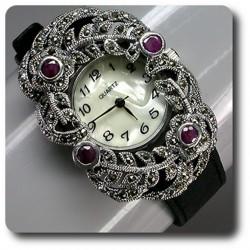MONTRE RUBIS & MARCASSITE Bracelet Cuir