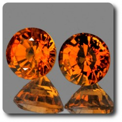 0.75 cts  2 GRENAT SPESSARTITE ORANGE. IF Namibie, Afrique