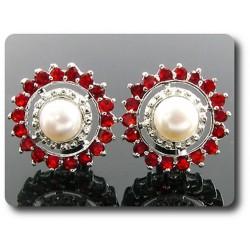 BOUTONS DE MANCHETTES POUR FEMME 36x3 mm Perle & Rubis Plaqué Or Blanc 18 K