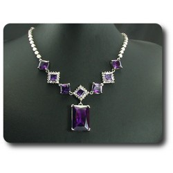 COLLIER AMETHYSTE 8x28-10 mm Plaqué Or Blanc 18 K